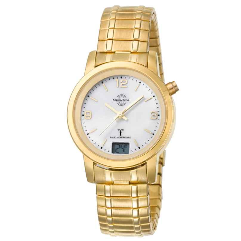 Master Time MTLA-10313-12M Damen-Funkuhr Basic mit Zugband Goldfarben 4260091354055