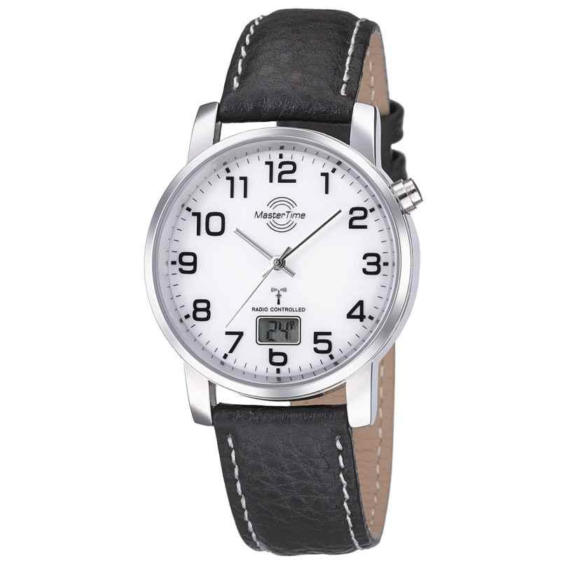 Master Time MTGA-10294-12L Herren-Funkuhr Basic Lederband Schwarz 4260091353867