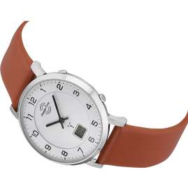 Master Time MTLS-10741-12L Ladies' Radio-Controlled Watch with Brown Leather Strap