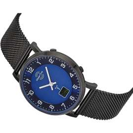 Master Time MTLS-10742-32M Damen-Funkuhr mit Milanaiseband Schwarz