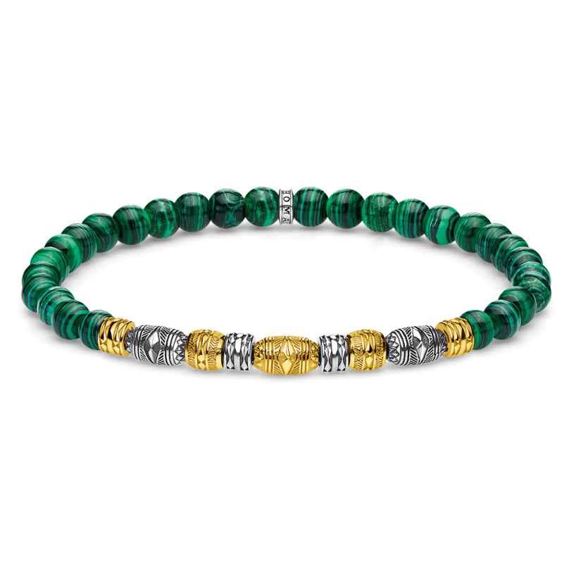 Thomas Sabo A1920-140-6 Bead Bracelet Lucky Charm Two-Tone Green