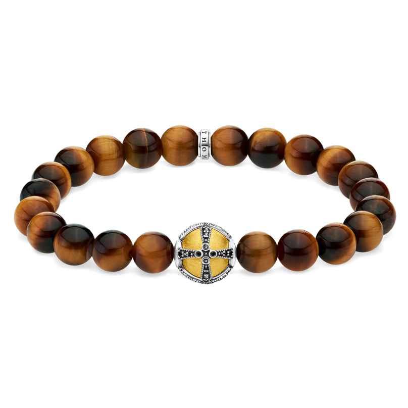 Thomas Sabo A1929-849-2-L18 Unisex Bead-Armband Kreuz goldfarben 4051245453324