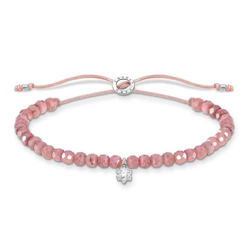 Thomas Sabo A1987-401-9-L20v Armband für Damen Pink mit weißem Stein 4051245487497