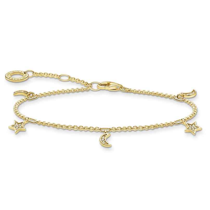 Thomas Sabo A1994-414-14-L19v Damen-Armband Mond und Stern goldfarben 4051245487596