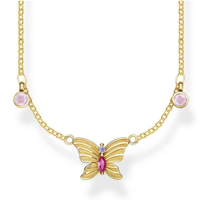 Thomas Sabo KE1951-488-7-L40v Damen-Collier Schmetterling Silber vergoldet 4051245475630