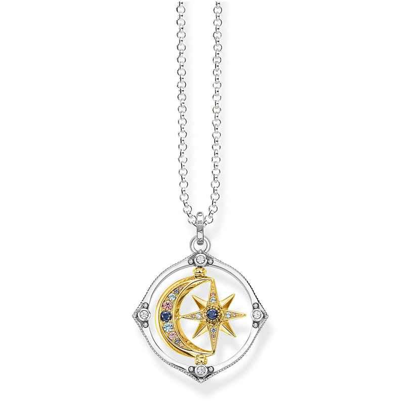Thomas Sabo KE1983-556-7-L70 Damen-Halskette Stern & Mond Silber Bicolor 4051245484526