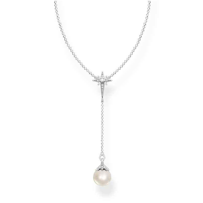 Thomas Sabo KE1986-167-14-L45v Damen-Halskette Perle mit Stern Silber 4051245484588