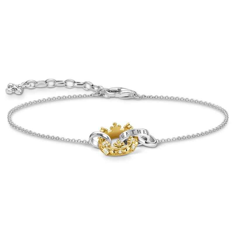 Thomas Sabo A1982-849-14-L19v Damen-Armband Krone Silber Bicolor 4051245484427