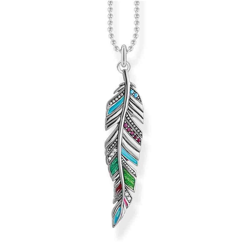 Thomas Sabo KE1972-340-7-L70 Halskette für Damen Ethno Feder Silber 4051245483208