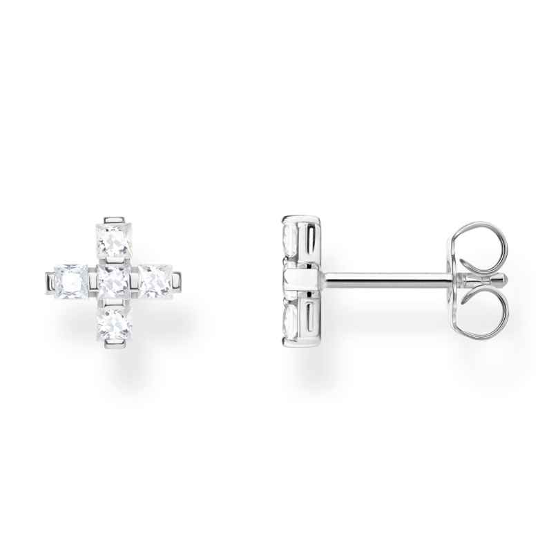 Thomas Sabo H2088-051-14 Silver Earrings Cross White 4051245450262