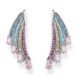 Thomas Sabo H2102-348-7 Ladies' Earrings Colourful Hummingbird Wing Silver Large