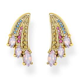 Thomas Sabo H2101-973-7 Stud Earrings Colourful Hummingbird Wing Gold-Plated