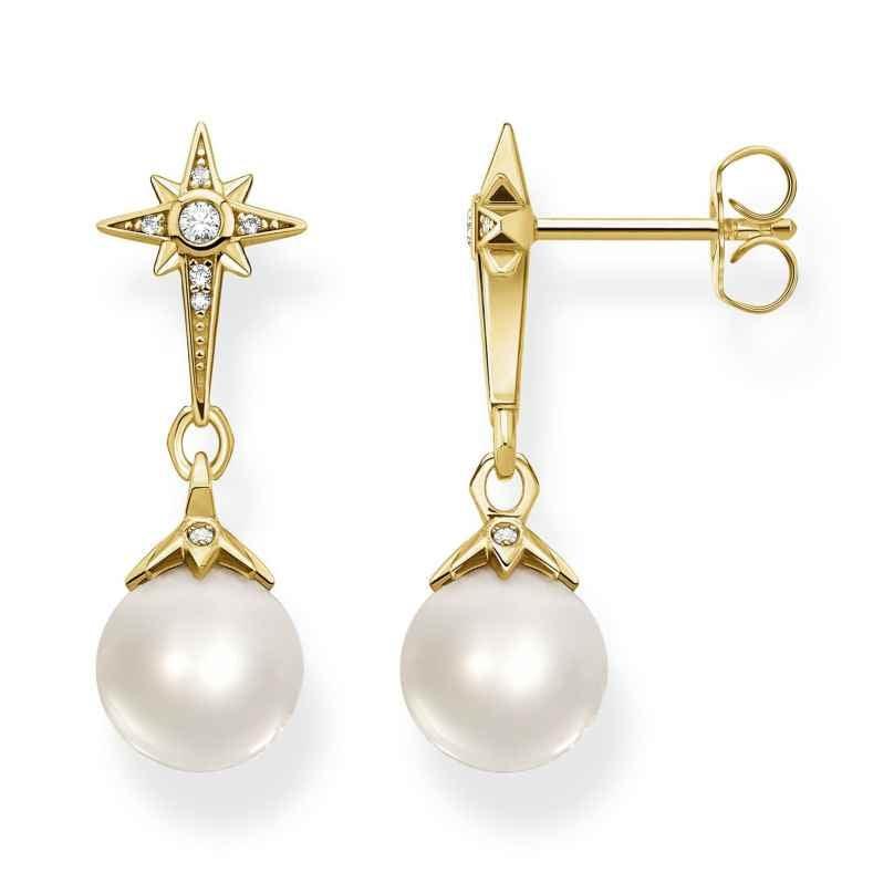 Thomas Sabo H2118-445-14 Damen-Ohrringe Perle mit Stern Silber vergoldet 4051245484878