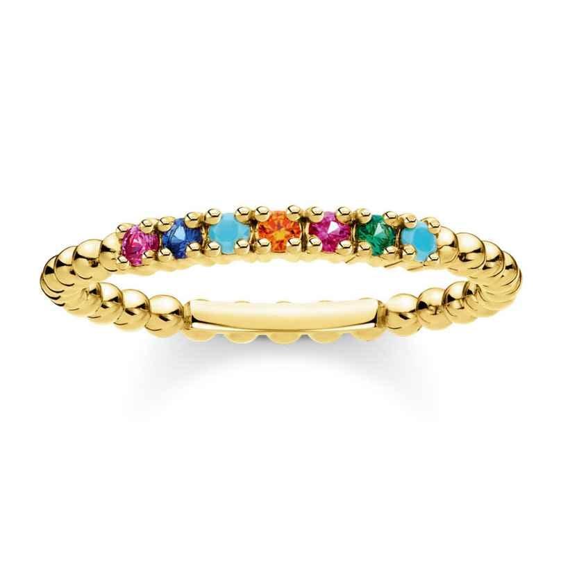 Thomas Sabo TR2323-488-7 Damen-Ring Kugeln mit bunten Steinen