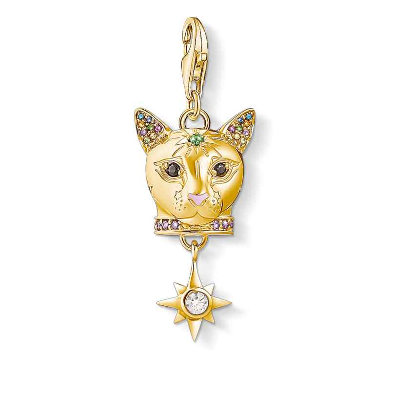 Thomas Sabo 1819-471-7 Charm Pendant Cat Gold-Plated Silver 4051245456615