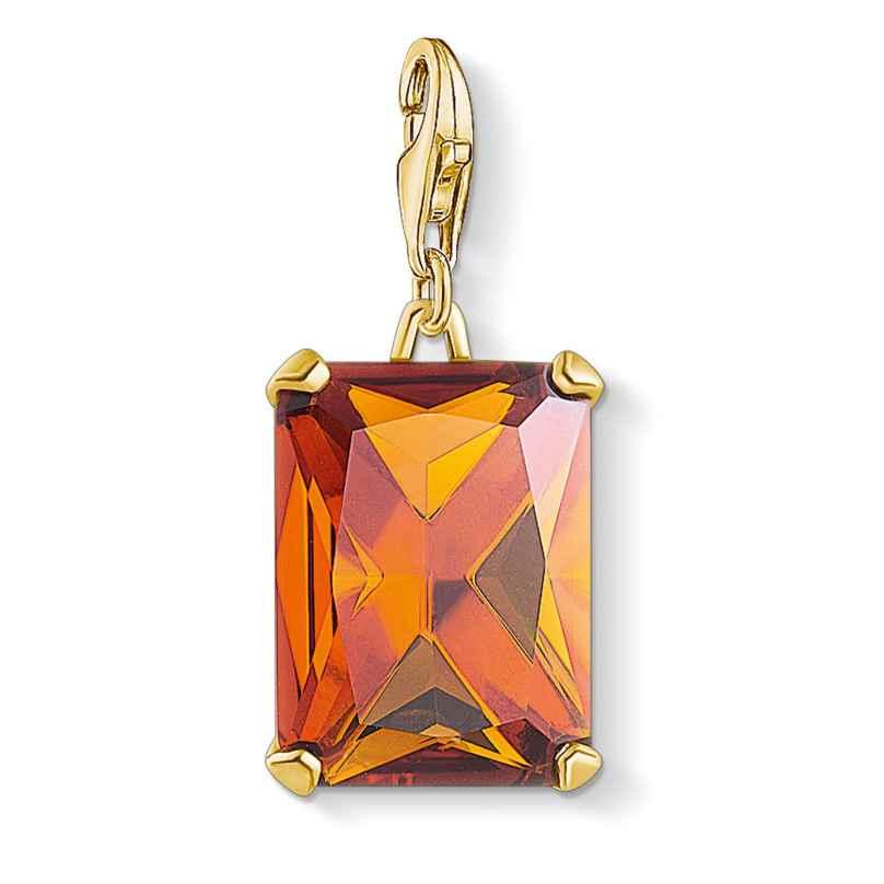 Thomas Sabo 1840-472-8 Charm-Anhänger Großer Stein Orange goldfarben 4051245477443