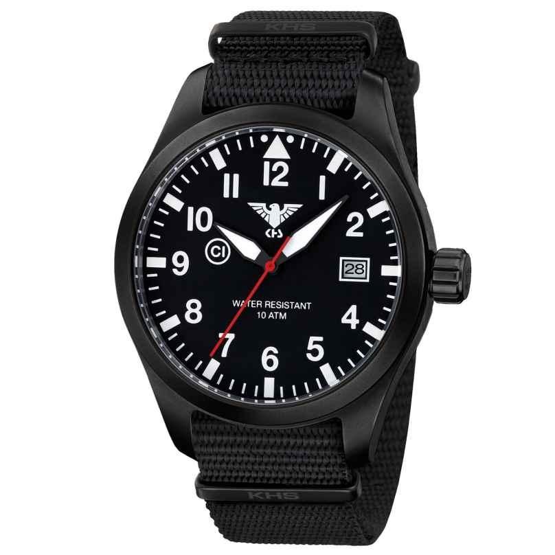 KHS AIRBS.NB Mens Watch Airleader Black Steel Nato Band Black 4260446981172