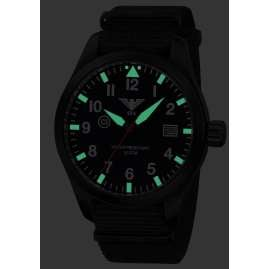 KHS AIRBS.NB Mens Watch Airleader Black Steel Nato Band Black