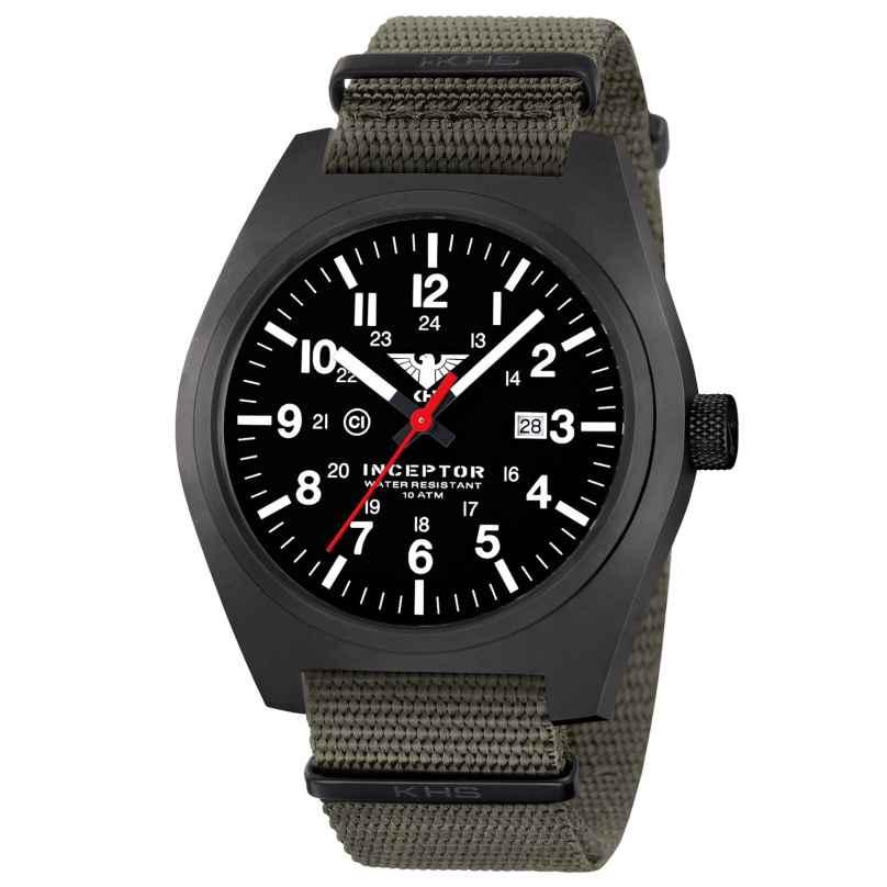 KHS INCBS.NSGO Men's Watch Inceptor Black Steel Stone Grey Olive 4260654092615