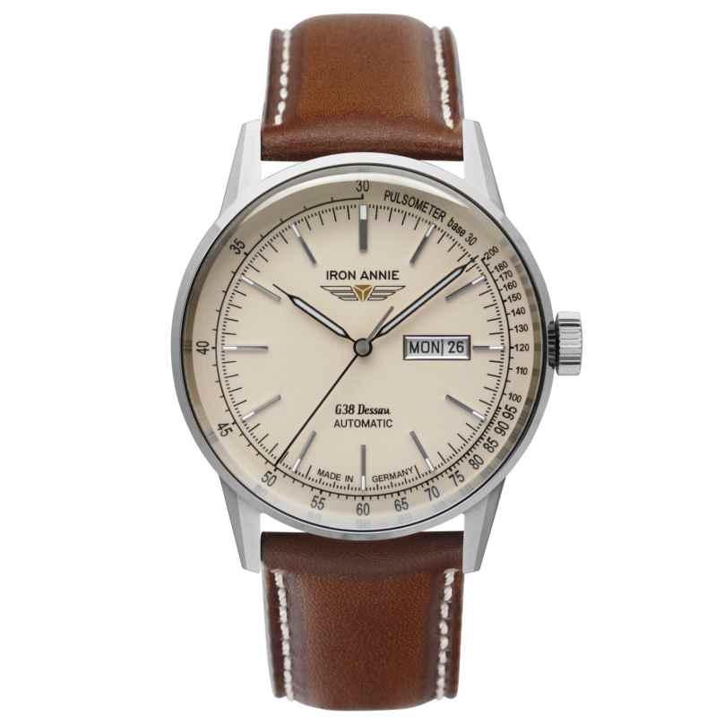 Iron Annie 5366-5 Gents Watch Automatic G38 Dessau DayDate Brown Leather Strap 4041338536652