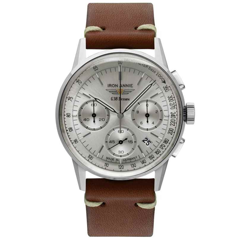 Iron Annie 5376-1 Men's Watch Chronograph G38 Dessau Brown Leather Strap 4041338537611