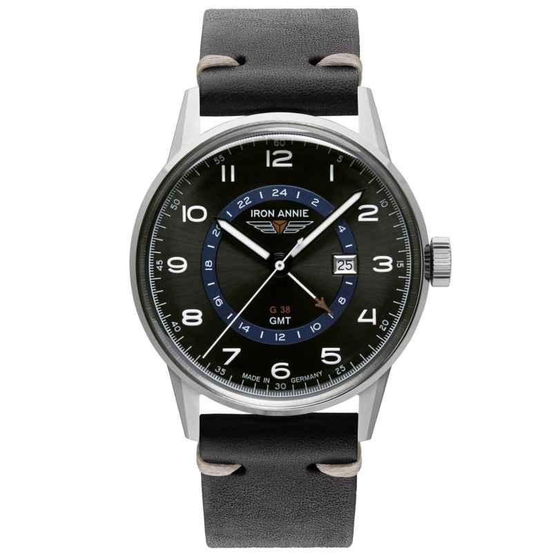 Iron Annie 5342-3 Herrenuhr G38 GMT mit schwarzem Lederband 4041338534238