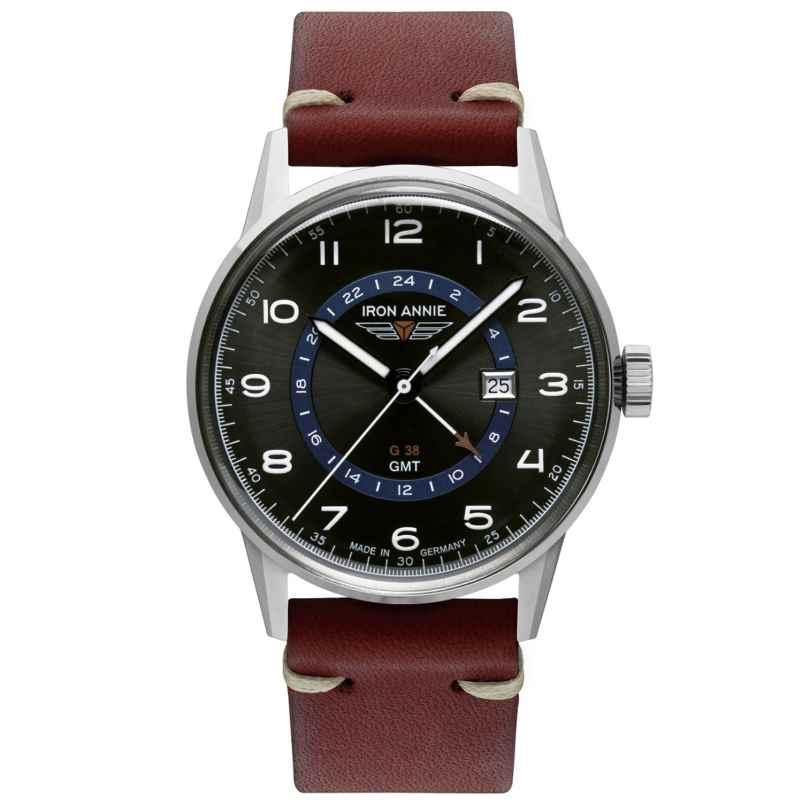 Iron Annie 5342-4 Herrenuhr G38 GMT mit rotbraunem Lederband 4041338534245