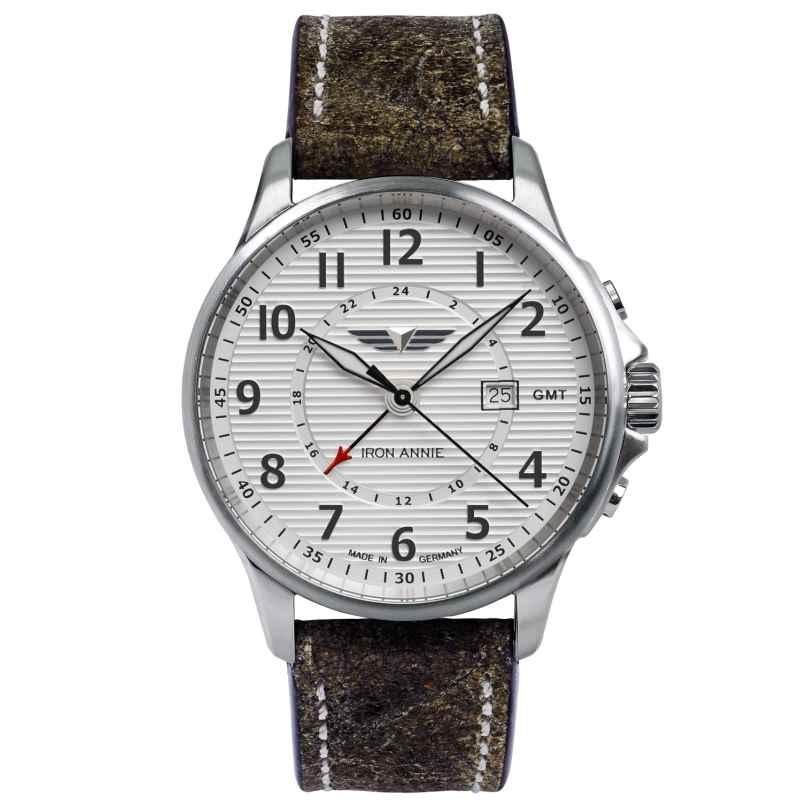Iron Annie 5840-1 Herren-Armbanduhr GMT Wellblech Lederband grau 4041338584011