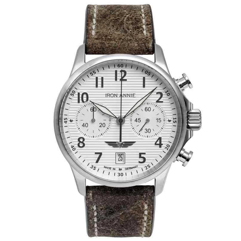 Iron Annie 5876-1 Herrenuhr Chronograph Wellblech Lederband braun 4041338587616