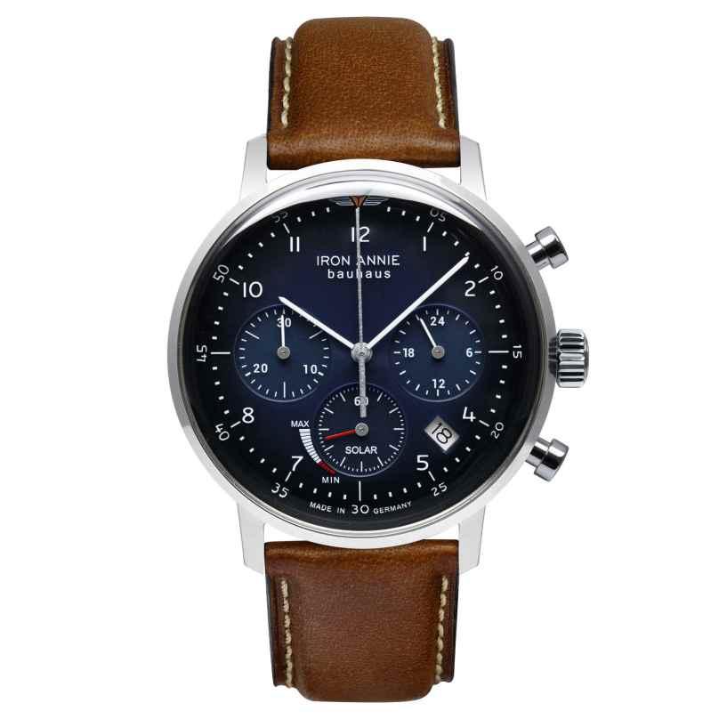 Iron Annie 5086-3 Solar Men's Watch Chronograph Bauhaus Brown Leather Strap 4041338508635