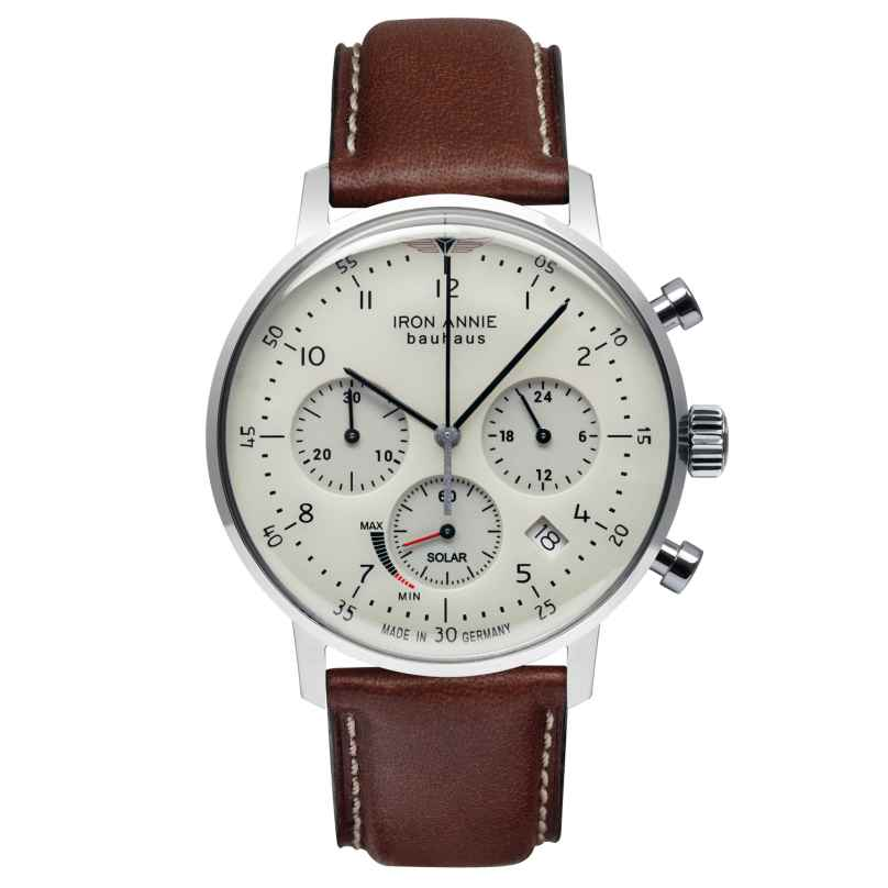 Iron Annie 5086-5 Men's Watch Solar Chronograph Bauhaus with Brown Leather Strap 4041338508659