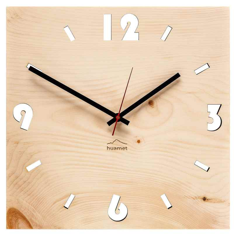 Huamet CH41-A-1604 Wood Wall Clock Pine Square 8058265370811