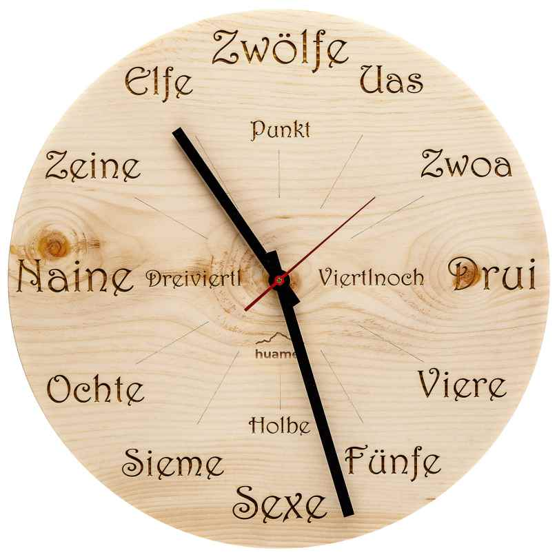 Huamet CH40-A-1605 Wood Wall Clock Pine Dialect Round 8058265370774