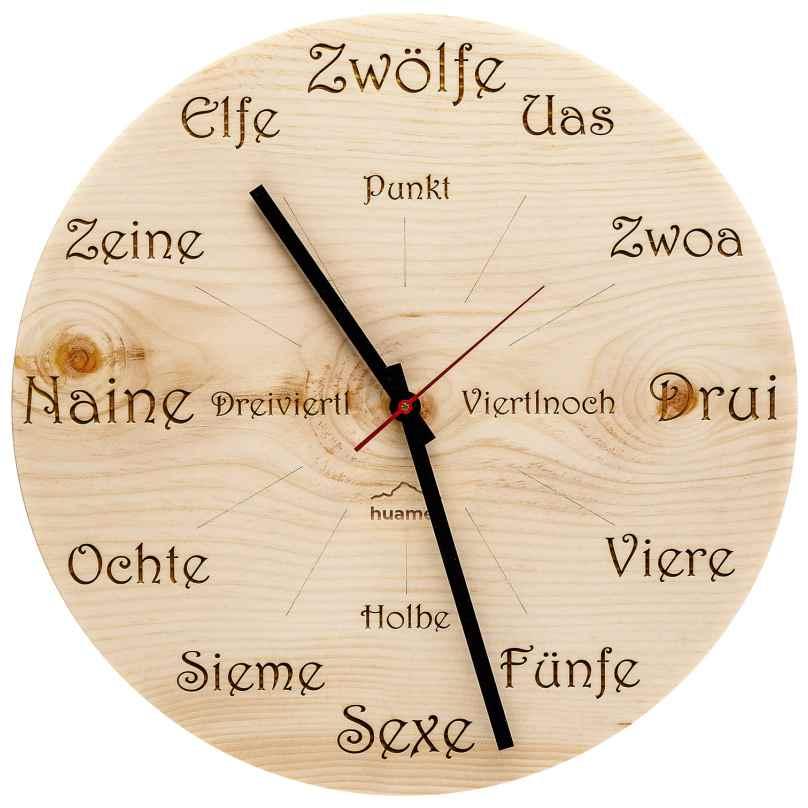 Huamet CH40-A-1605 Holz-Wanduhr Zirbe Dialekt Rund 8058265370774