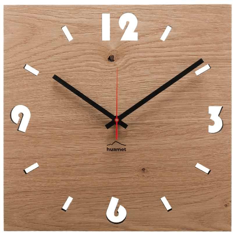 Huamet CH51-A-1604 Wood Wall Clock Oak Square 8058265370743