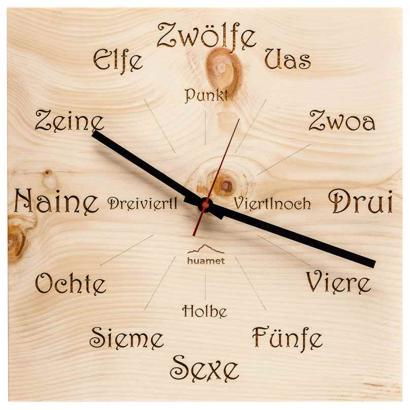 Huamet CH41-A-1605 Wood Wall Clock Pine Dialect Square 8058265370767
