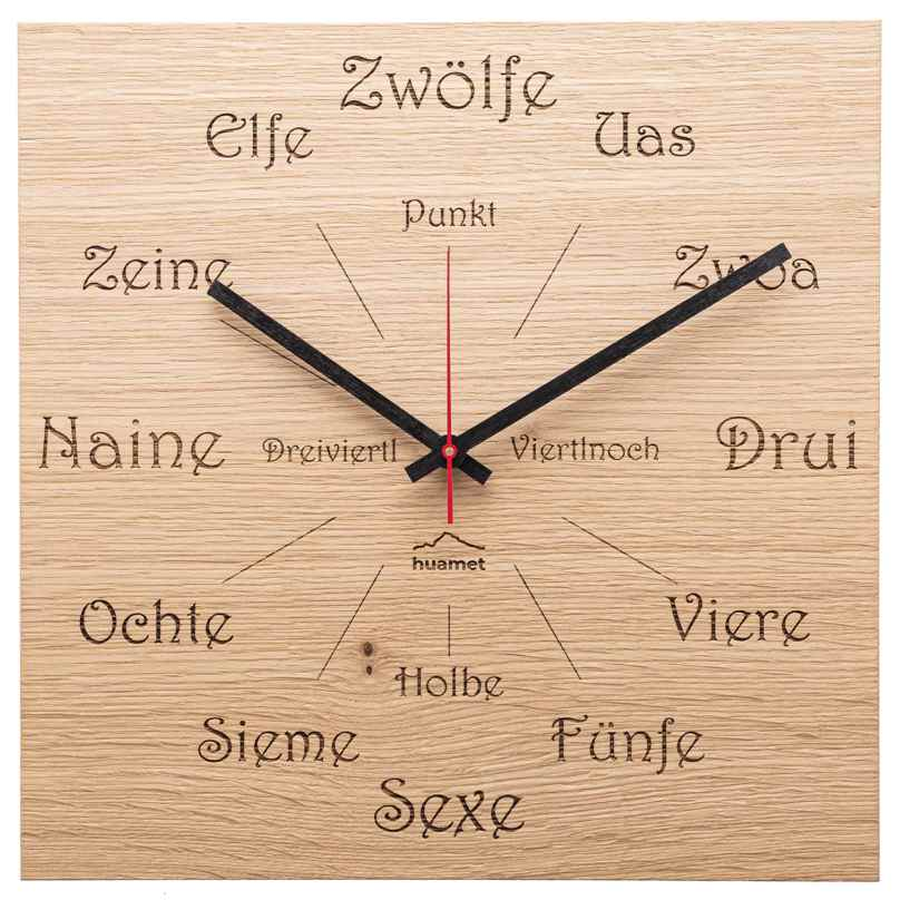 Huamet CH51-A-1605 Wooden Wall Clock Dialect Oak Square 8058265371306