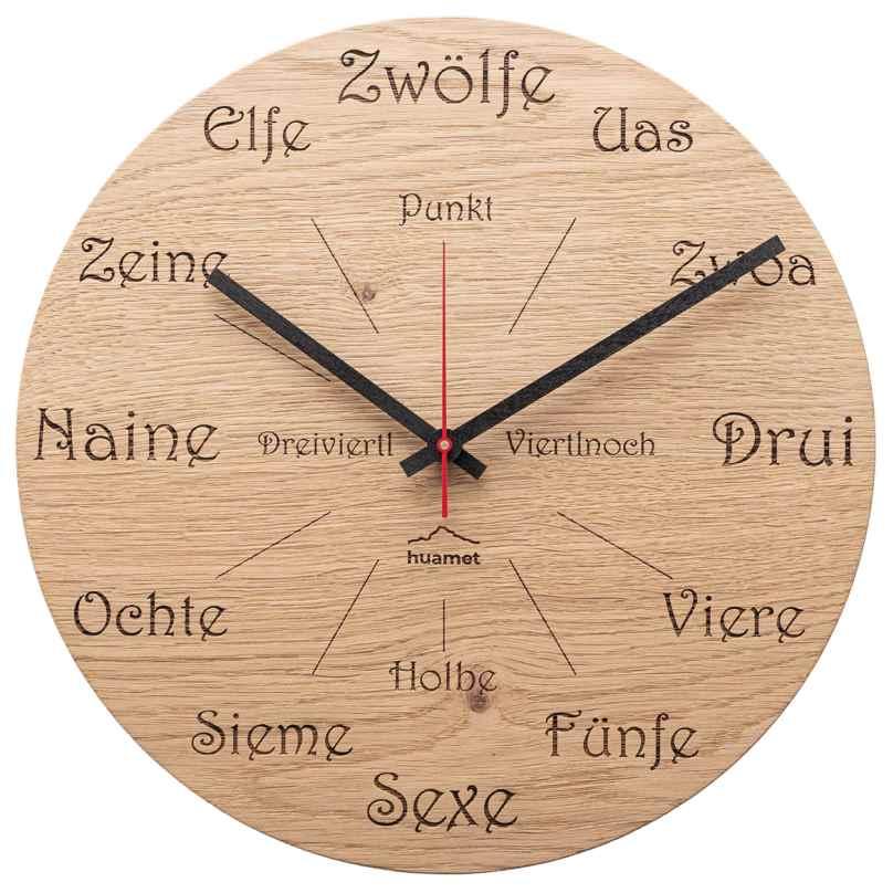 Huamet CH50-A-1605 Holz-Wanduhr Eiche Dialekt Rund 8058265371313