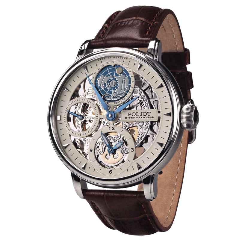 Poljot International 9730.2940552 Herrenuhr Double Timer Globetrotter Braun/Stahl 4260479166072