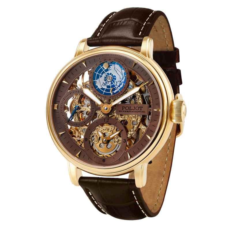Poljot International 9730.2940654 Herrenuhr Double Timer Globetrotter Braun/Goldfarben 4260479166805