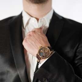 Poljot International 9730.2940654 Men's Watch Double Timer Globetrotter Brown/Gold Tone