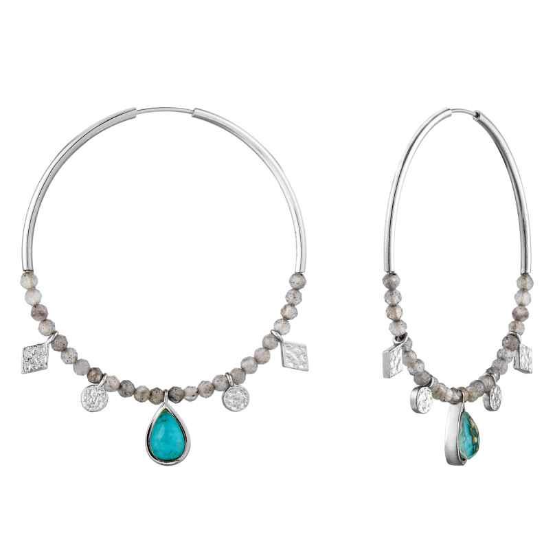 Ania Haie E014-05H Silver Ladies´ Hoop Earrings Turquoise Labradorite 5052469000393