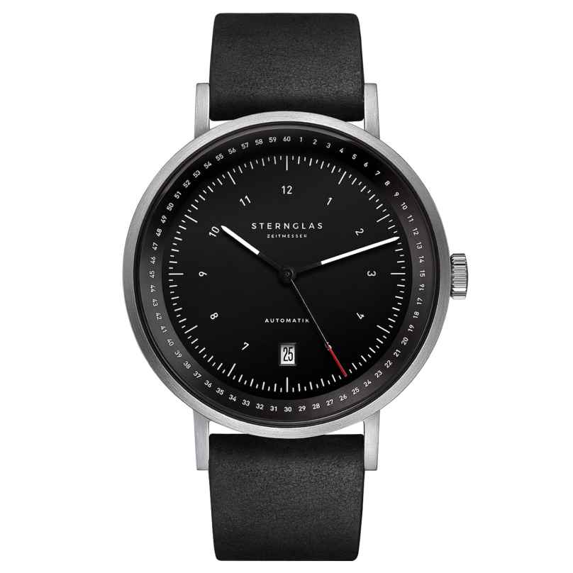 Sternglas STF11/300 Men's Watch Automatic Topograph 2.0 Black Leather Strap 4260493153621