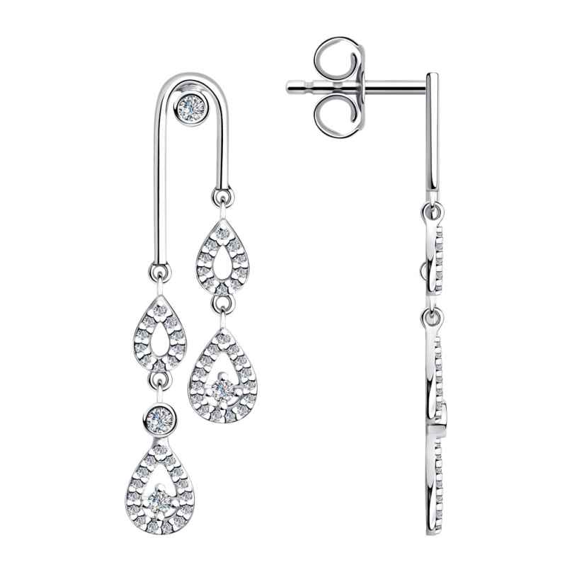 trendor 94023659-2 Silver Women's Drop Earrings with Cubic Zirconia 9157007427543