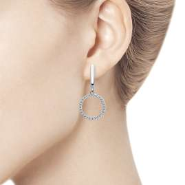trendor 94023405 Ladies' Drop Earrings Circle 925 Silver