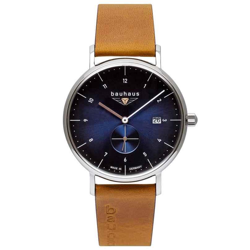 Bauhaus 2130-3 Herrenuhr mit Lederband Braun / Blau 4041338213034