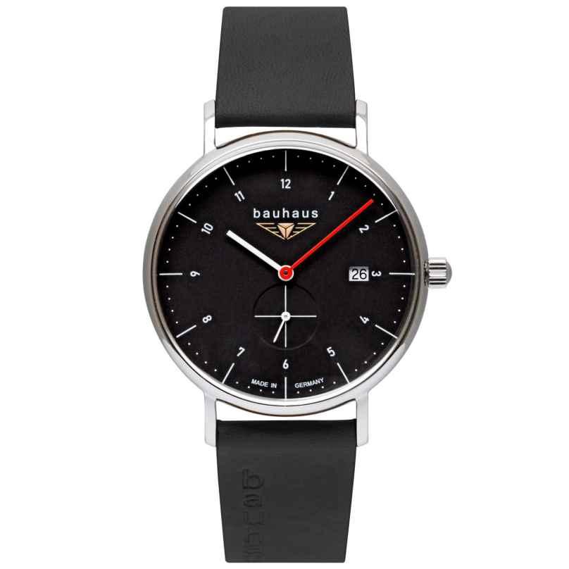 Bauhaus 2130-2 Herrenuhr mit Lederband Schwarz 4041338213027