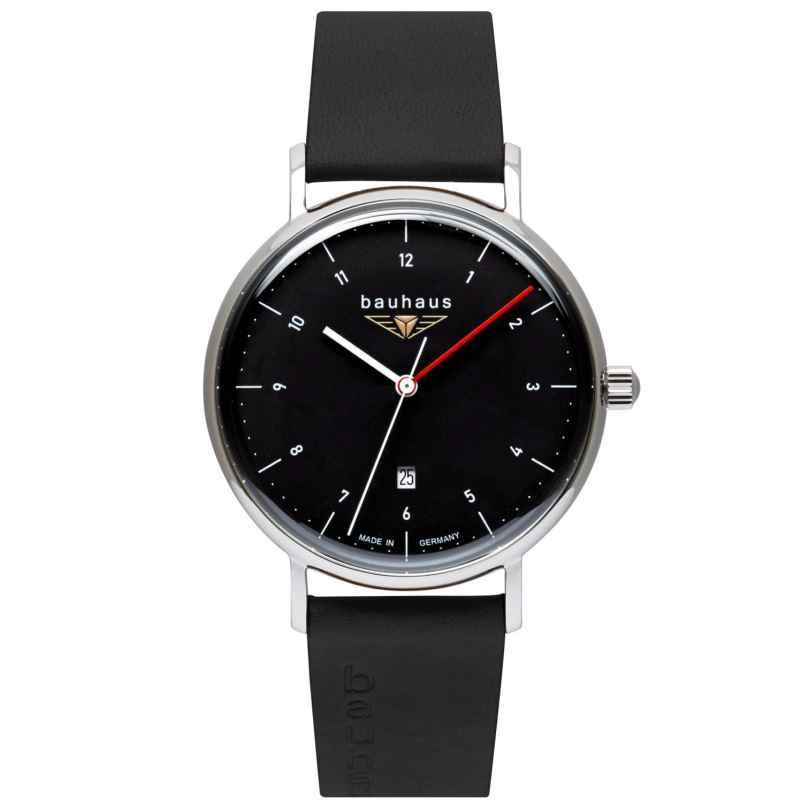 Bauhaus 2140-2 Herrenarmbanduhr mit Lederband Schwarz 4041338214024