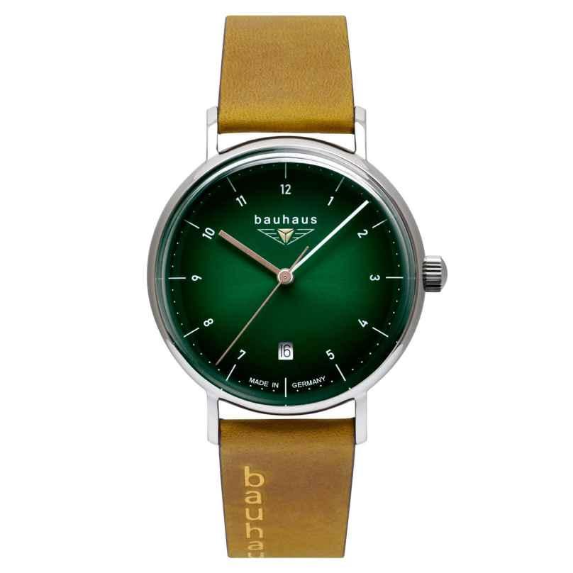 Bauhaus 2141-4 Damenuhr mit Lederband Hellbraun/Grün 4041338214147