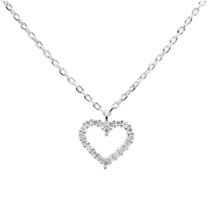 P D Paola CO02-220-U Damen-Halskette Weißes Herz Silber 8435511717499